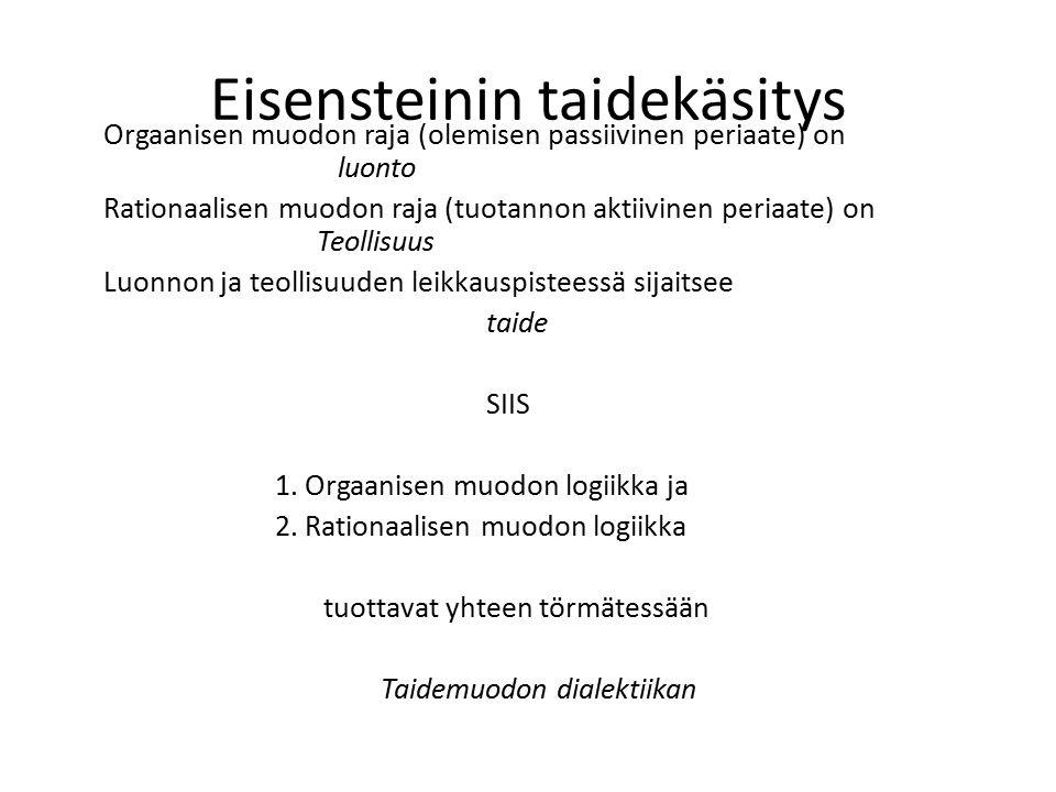 Eisensteinin taidekäsitys Orgaanisen muodon raja (olemisen passiivinen periaate) on luonto Rationaalisen muodon raja (tuotannon aktiivinen periaate) on Teollisuus Luonnon ja teollisuuden leikkauspisteessä sijaitsee taide SIIS 1.