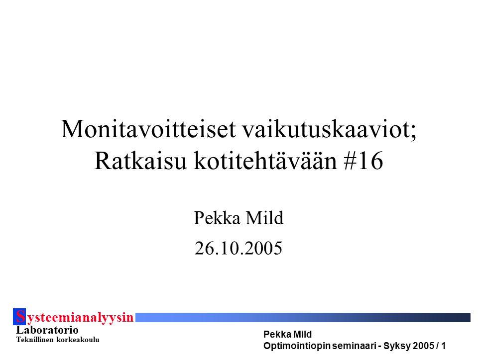 S ysteemianalyysin Laboratorio Teknillinen korkeakoulu Pekka Mild Optimointiopin seminaari - Syksy 2005 / 1 Monitavoitteiset vaikutuskaaviot; Ratkaisu kotitehtävään #16 Pekka Mild 26.10.2005