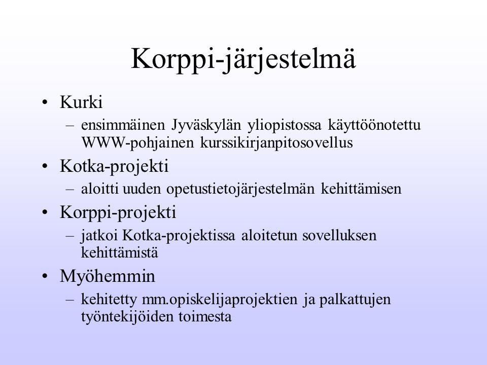 Korppi-järjestelmä Kurki –ensimmäinen Jyväskylän yliopistossa käyttöönotettu WWW-pohjainen kurssikirjanpitosovellus Kotka-projekti –aloitti uuden opetustietojärjestelmän kehittämisen Korppi-projekti –jatkoi Kotka-projektissa aloitetun sovelluksen kehittämistä Myöhemmin –kehitetty mm.opiskelijaprojektien ja palkattujen työntekijöiden toimesta