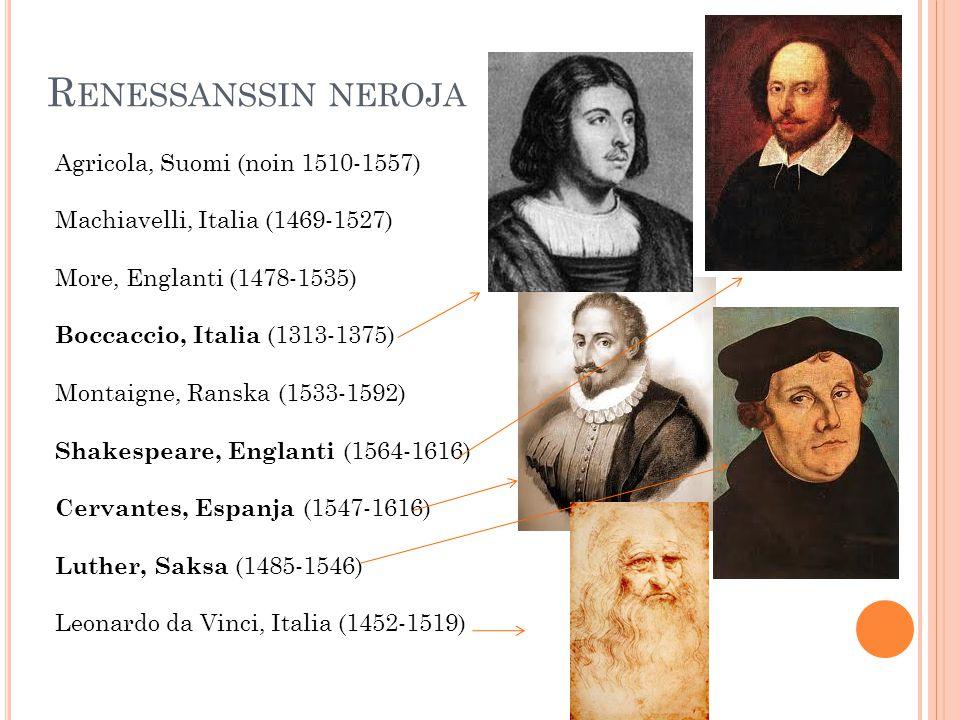 R ENESSANSSIN NEROJA Agricola, Suomi (noin 1510-1557) Machiavelli, Italia (1469-1527) More, Englanti (1478-1535) Boccaccio, Italia (1313-1375) Montaigne, Ranska (1533-1592) Shakespeare, Englanti (1564-1616) Cervantes, Espanja (1547-1616) Luther, Saksa (1485-1546) Leonardo da Vinci, Italia (1452-1519)