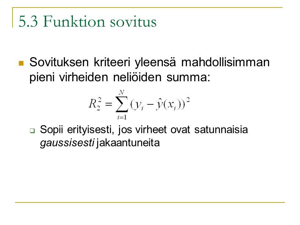 5.3 Funktion sovitus Sovituksen kriteeri yleensä mahdollisimman pieni virheiden neliöiden summa:  Sopii erityisesti, jos virheet ovat satunnaisia gaussisesti jakaantuneita
