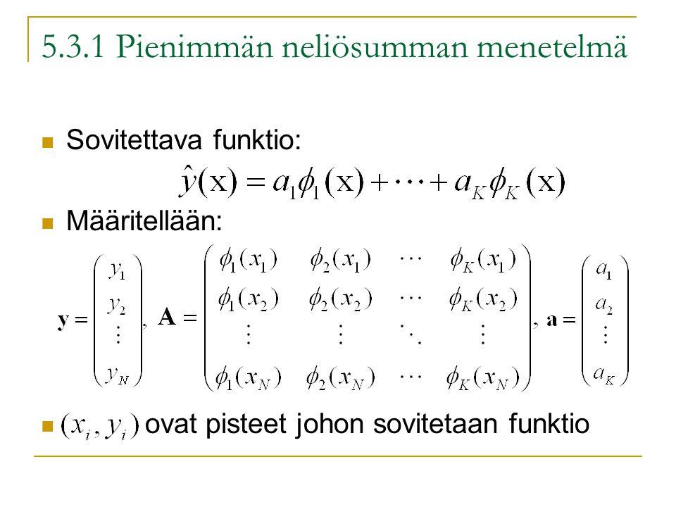 5.3.1 Pienimmän neliösumman menetelmä Sovitettava funktio: Määritellään: ovat pisteet johon sovitetaan funktio