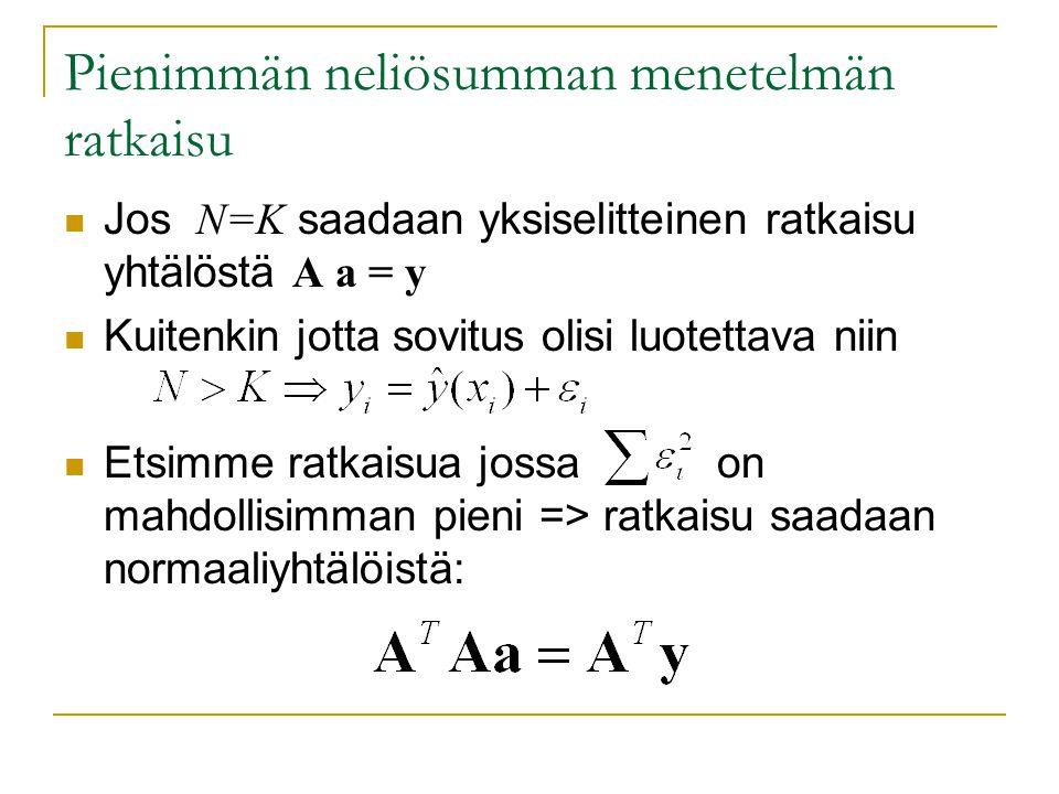 Pienimmän neliösumman menetelmän ratkaisu Jos N=K saadaan yksiselitteinen ratkaisu yhtälöstä A a = y Kuitenkin jotta sovitus olisi luotettava niin Etsimme ratkaisua jossa on mahdollisimman pieni => ratkaisu saadaan normaaliyhtälöistä: