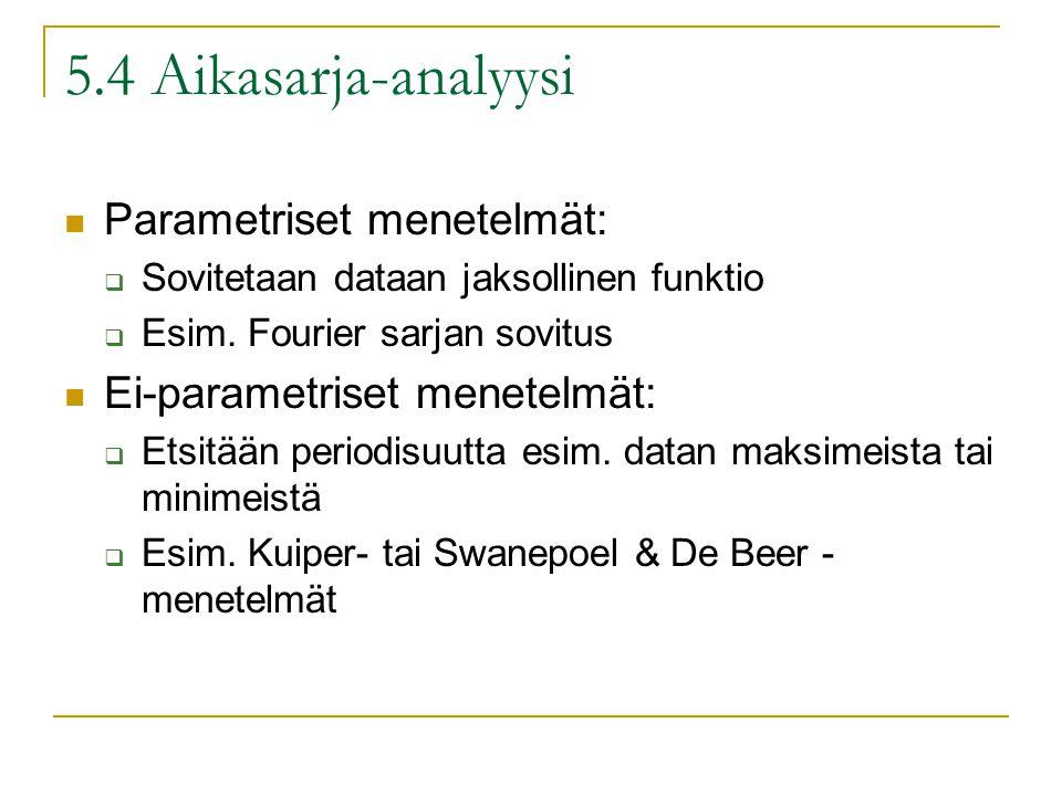 5.4 Aikasarja-analyysi Parametriset menetelmät:  Sovitetaan dataan jaksollinen funktio  Esim.