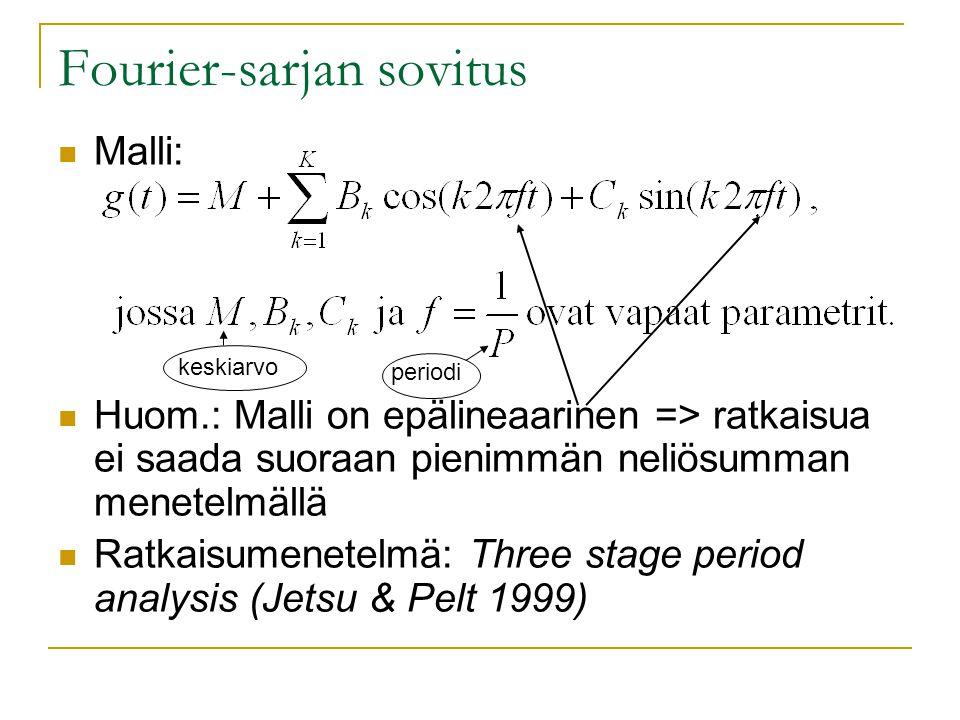 Fourier-sarjan sovitus Malli: Huom.: Malli on epälineaarinen => ratkaisua ei saada suoraan pienimmän neliösumman menetelmällä Ratkaisumenetelmä: Three stage period analysis (Jetsu & Pelt 1999) keskiarvo periodi