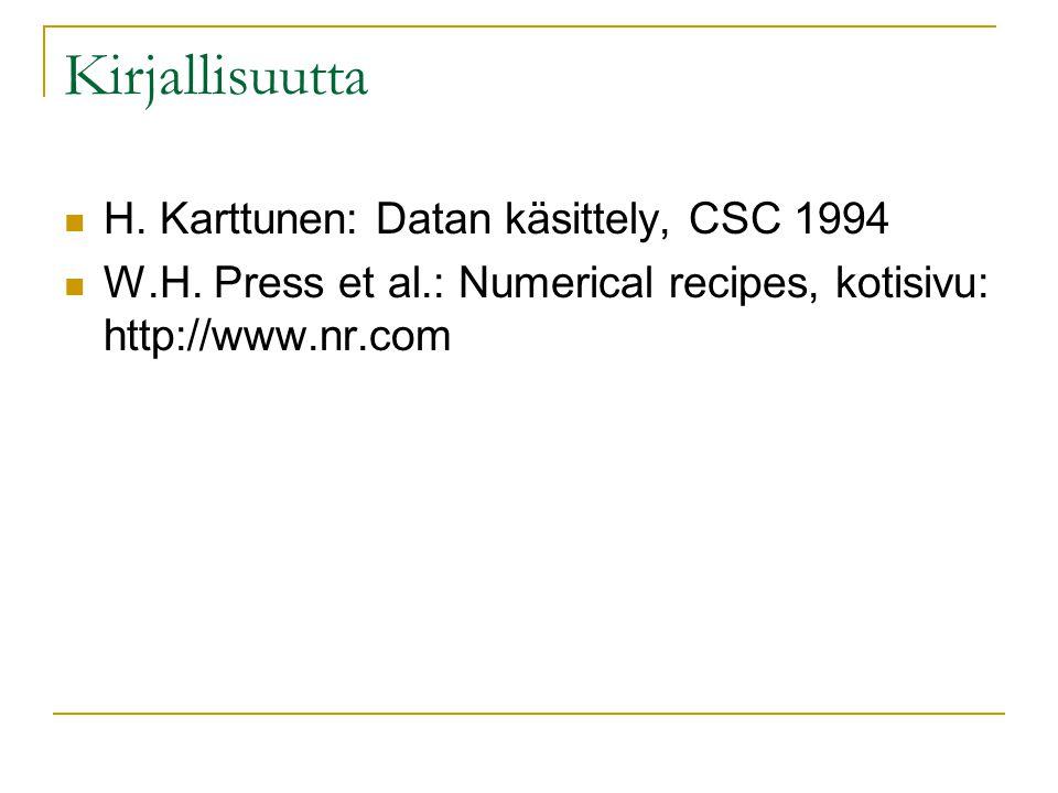 Kirjallisuutta H. Karttunen: Datan käsittely, CSC 1994 W.H.