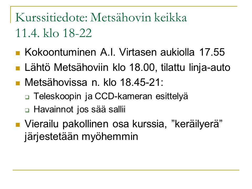 Kurssitiedote: Metsähovin keikka 11.4. klo 18-22 Kokoontuminen A.I.