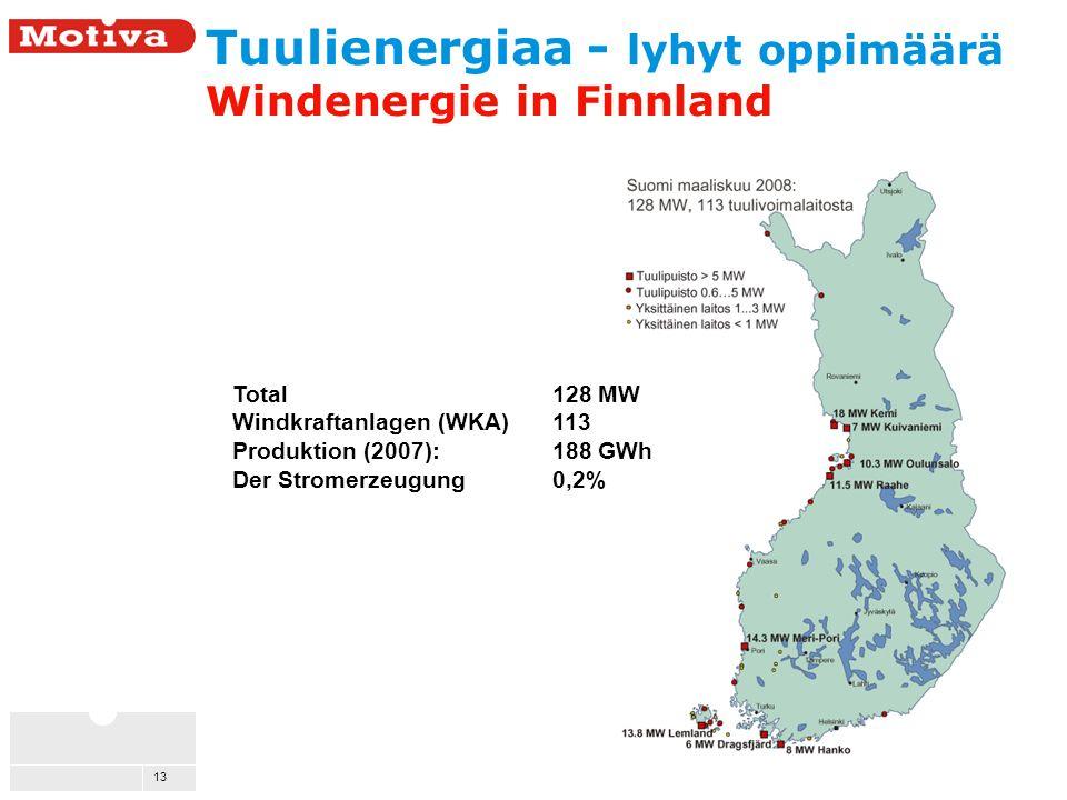 13 Tuulienergiaa - lyhyt oppimäärä Windenergie in Finnland Total 128 MW Windkraftanlagen (WKA) 113 Produktion (2007): 188 GWh Der Stromerzeugung 0,2%