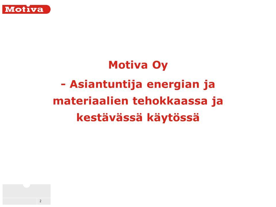 2 Motiva Oy - Asiantuntija energian ja materiaalien tehokkaassa ja kestävässä käytössä