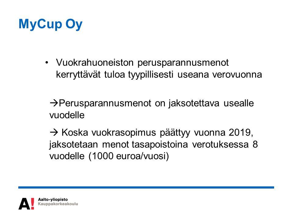 MyCup Oy Vuokrahuoneiston perusparannusmenot kerryttävät tuloa tyypillisesti useana verovuonna  Perusparannusmenot on jaksotettava usealle vuodelle  Koska vuokrasopimus päättyy vuonna 2019, jaksotetaan menot tasapoistoina verotuksessa 8 vuodelle (1000 euroa/vuosi)