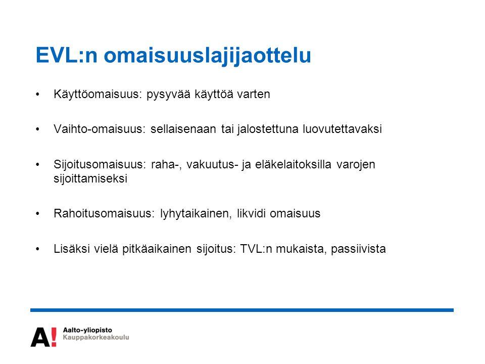 EVL:n omaisuuslajijaottelu Käyttöomaisuus: pysyvää käyttöä varten Vaihto-omaisuus: sellaisenaan tai jalostettuna luovutettavaksi Sijoitusomaisuus: raha-, vakuutus- ja eläkelaitoksilla varojen sijoittamiseksi Rahoitusomaisuus: lyhytaikainen, likvidi omaisuus Lisäksi vielä pitkäaikainen sijoitus: TVL:n mukaista, passiivista