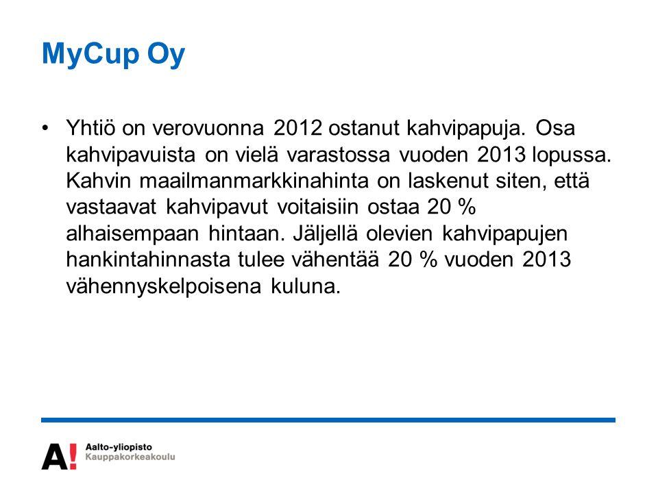 MyCup Oy Yhtiö on verovuonna 2012 ostanut kahvipapuja.