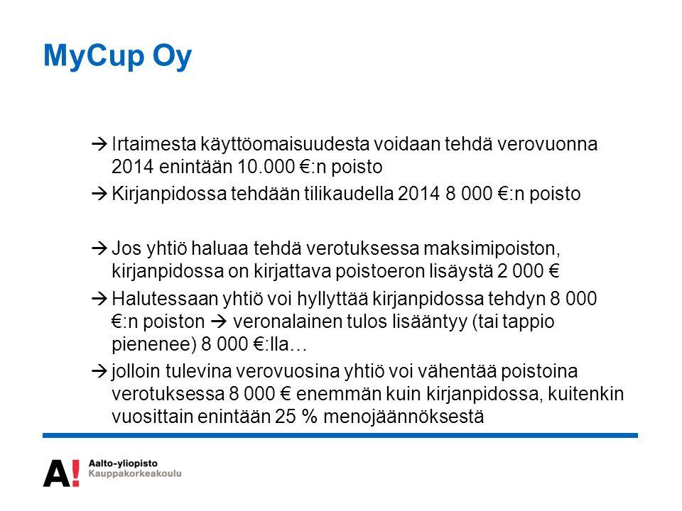 MyCup Oy  Irtaimesta käyttöomaisuudesta voidaan tehdä verovuonna 2014 enintään 10.000 €:n poisto  Kirjanpidossa tehdään tilikaudella 2014 8 000 €:n poisto  Jos yhtiö haluaa tehdä verotuksessa maksimipoiston, kirjanpidossa on kirjattava poistoeron lisäystä 2 000 €  Halutessaan yhtiö voi hyllyttää kirjanpidossa tehdyn 8 000 €:n poiston  veronalainen tulos lisääntyy (tai tappio pienenee) 8 000 €:lla…  jolloin tulevina verovuosina yhtiö voi vähentää poistoina verotuksessa 8 000 € enemmän kuin kirjanpidossa, kuitenkin vuosittain enintään 25 % menojäännöksestä