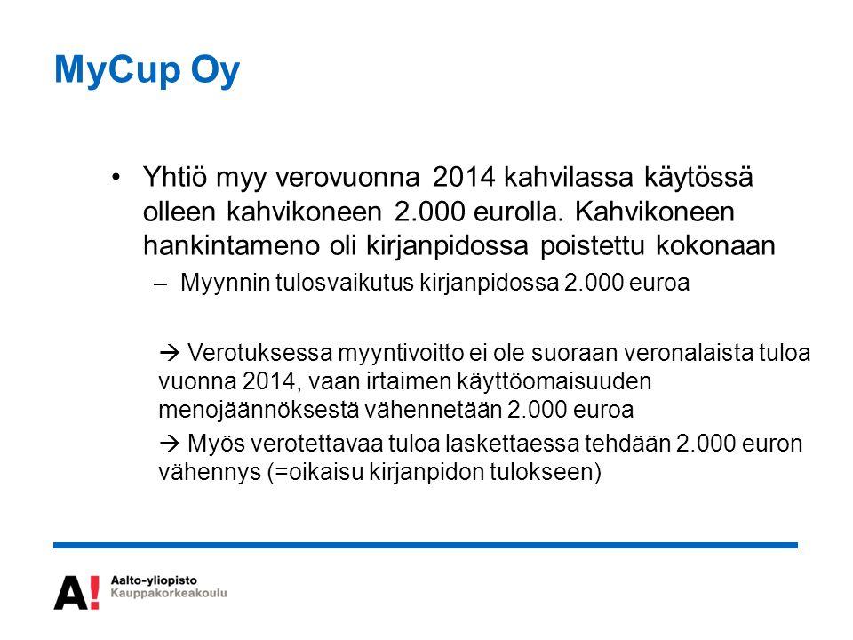 MyCup Oy Yhtiö myy verovuonna 2014 kahvilassa käytössä olleen kahvikoneen 2.000 eurolla.