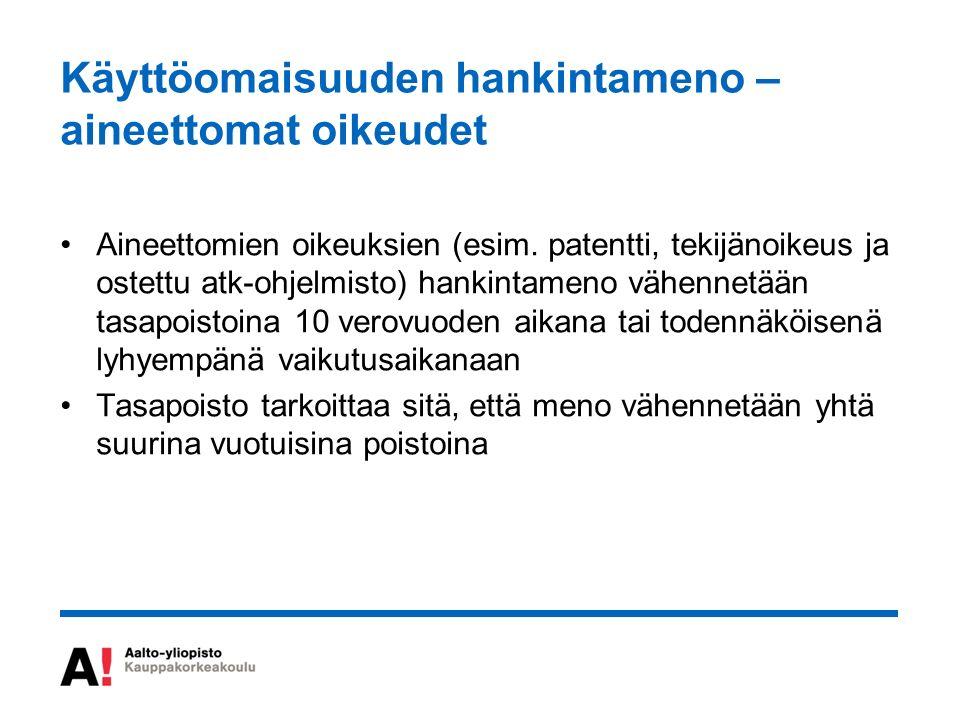 Käyttöomaisuuden hankintameno – aineettomat oikeudet Aineettomien oikeuksien (esim.