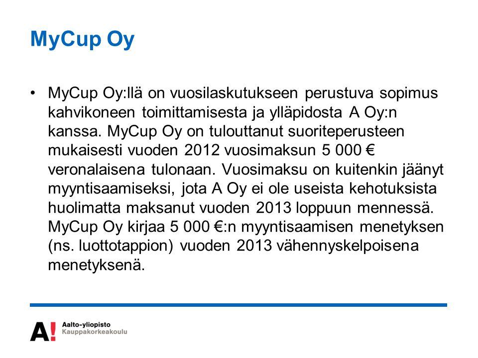 MyCup Oy MyCup Oy:llä on vuosilaskutukseen perustuva sopimus kahvikoneen toimittamisesta ja ylläpidosta A Oy:n kanssa.