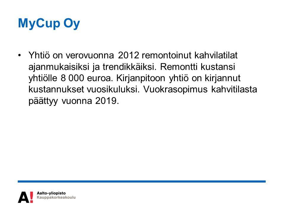 MyCup Oy Yhtiö on verovuonna 2012 remontoinut kahvilatilat ajanmukaisiksi ja trendikkäiksi.