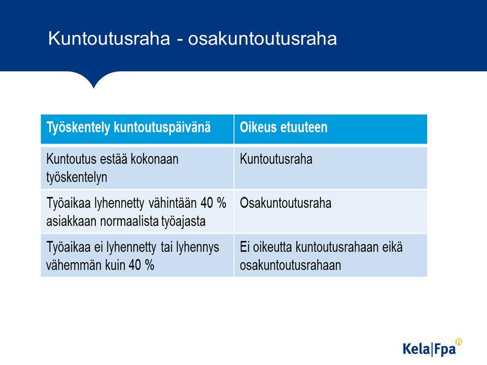 Kuntoutusraha - osakuntoutusraha