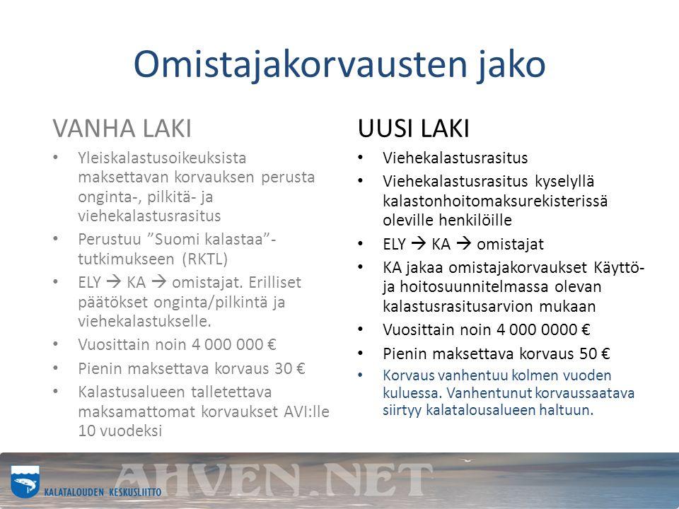 Omistajakorvausten jako VANHA LAKI Yleiskalastusoikeuksista maksettavan korvauksen perusta onginta-, pilkitä- ja viehekalastusrasitus Perustuu Suomi kalastaa - tutkimukseen (RKTL) ELY  KA  omistajat.