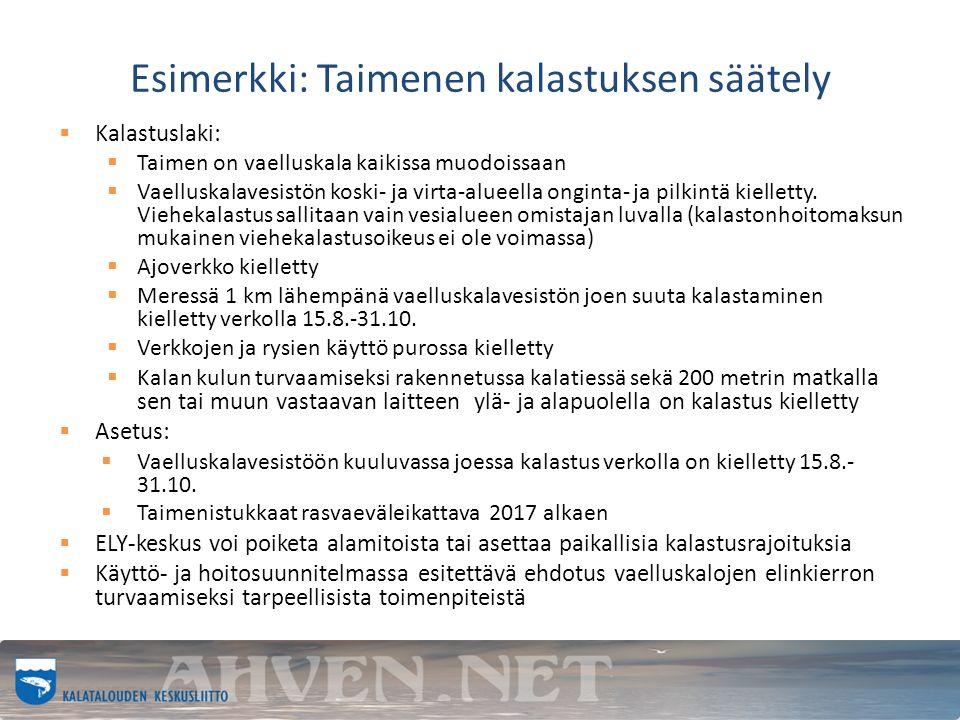 Esimerkki: Taimenen kalastuksen säätely  Kalastuslaki:  Taimen on vaelluskala kaikissa muodoissaan  Vaelluskalavesistön koski- ja virta-alueella onginta- ja pilkintä kielletty.
