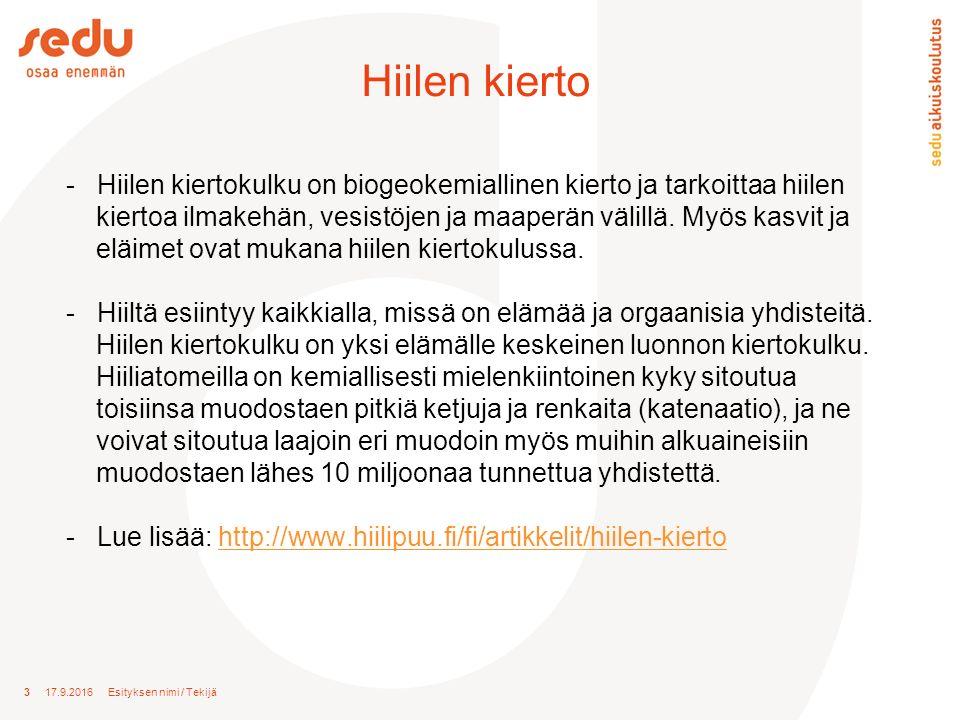 3 17.9.2016 Esityksen nimi / Tekijä Hiilen kierto - Hiilen kiertokulku on biogeokemiallinen kierto ja tarkoittaa hiilen kiertoa ilmakehän, vesistöjen ja maaperän välillä.