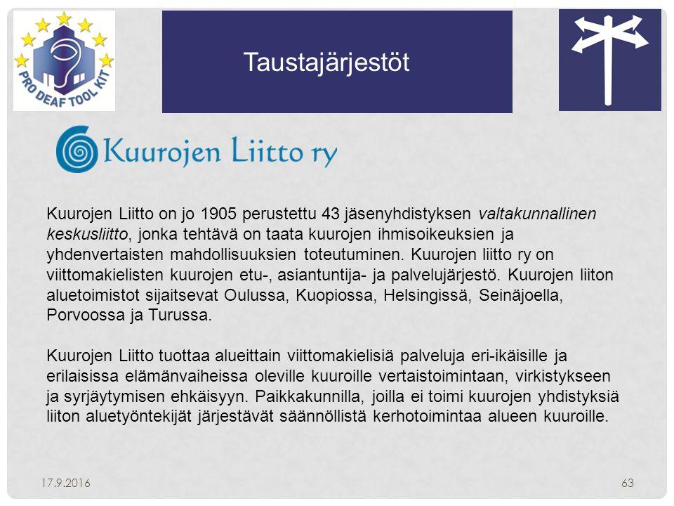 Taustajärjestöt 17.9.201663 Kuurojen Liitto on jo 1905 perustettu 43 jäsenyhdistyksen valtakunnallinen keskusliitto, jonka tehtävä on taata kuurojen ihmisoikeuksien ja yhdenvertaisten mahdollisuuksien toteutuminen.