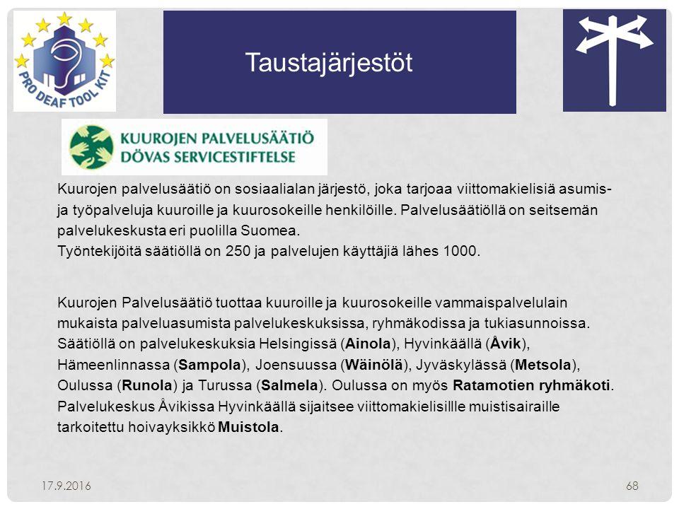 Taustajärjestöt 17.9.201668 Kuurojen palvelusäätiö on sosiaalialan järjestö, joka tarjoaa viittomakielisiä asumis- ja työpalveluja kuuroille ja kuurosokeille henkilöille.