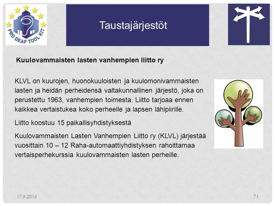 Taustajärjestöt 17.9.201671 Kuulovammaisten lasten vanhempien liitto ry KLVL on kuurojen, huonokuuloisten ja kuulomonivammaisten lasten ja heidän perheidensä valtakunnallinen järjestö, joka on perustettu 1963, vanhempien toimesta.