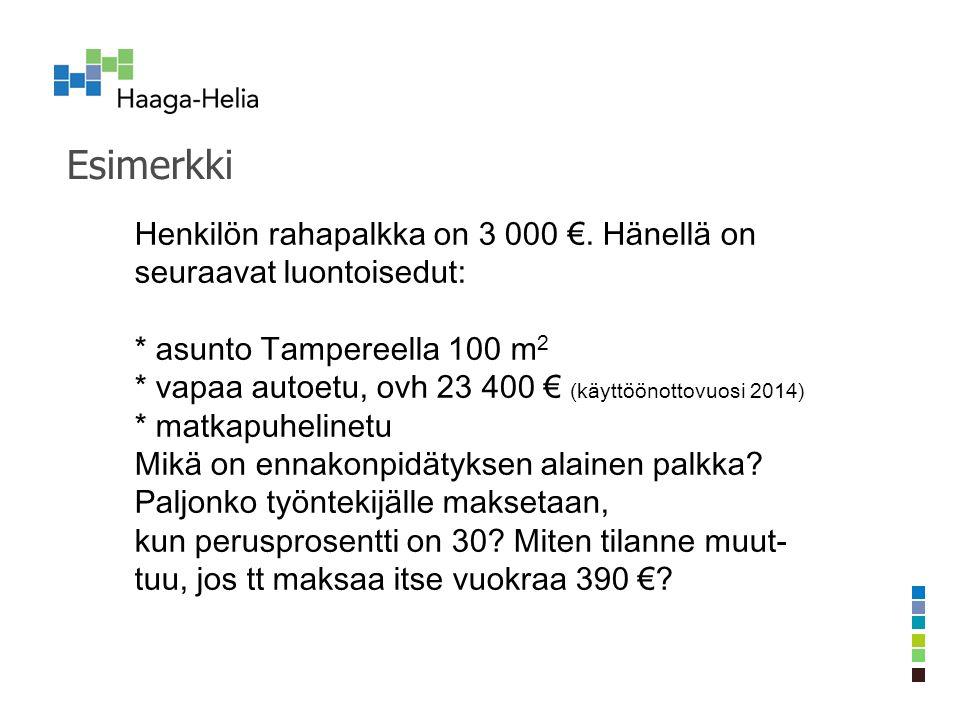 Esimerkki Henkilön rahapalkka on 3 000 €.