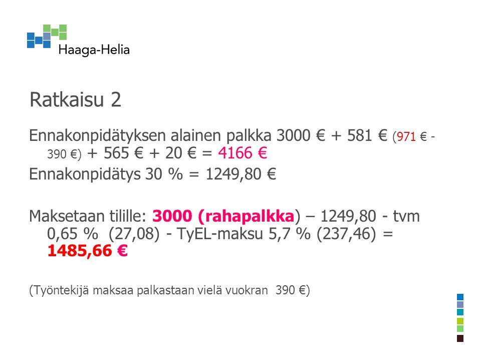 Ratkaisu 2 Ennakonpidätyksen alainen palkka 3000 € + 581 € (971 € - 390 €) + 565 € + 20 € = 4166 € Ennakonpidätys 30 % = 1249,80 € Maksetaan tilille: 3000 (rahapalkka) – 1249,80 - tvm 0,65 % (27,08) - TyEL-maksu 5,7 % (237,46) = 1485,66 € (Työntekijä maksaa palkastaan vielä vuokran 390 €)