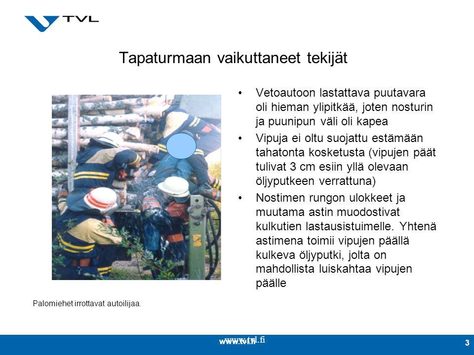 www.tvl.fi 3 Tapaturmaan vaikuttaneet tekijät Vetoautoon lastattava puutavara oli hieman ylipitkää, joten nosturin ja puunipun väli oli kapea Vipuja ei oltu suojattu estämään tahatonta kosketusta (vipujen päät tulivat 3 cm esiin yllä olevaan öljyputkeen verrattuna) Nostimen rungon ulokkeet ja muutama astin muodostivat kulkutien lastausistuimelle.