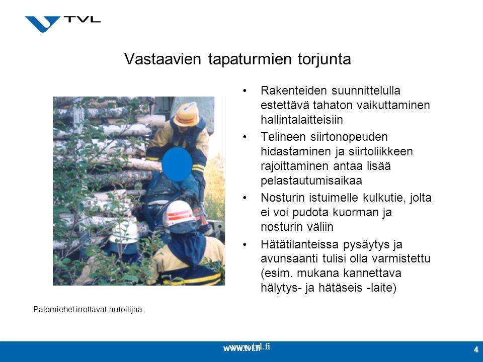 www.tvl.fi 4 Vastaavien tapaturmien torjunta Rakenteiden suunnittelulla estettävä tahaton vaikuttaminen hallintalaitteisiin Telineen siirtonopeuden hidastaminen ja siirtoliikkeen rajoittaminen antaa lisää pelastautumisaikaa Nosturin istuimelle kulkutie, jolta ei voi pudota kuorman ja nosturin väliin Hätätilanteissa pysäytys ja avunsaanti tulisi olla varmistettu (esim.