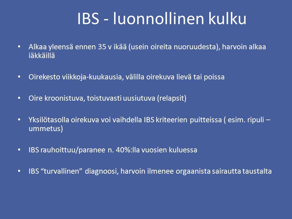 IBS - luonnollinen kulku Alkaa yleensä ennen 35 v ikää (usein oireita nuoruudesta), harvoin alkaa iäkkäillä Oirekesto viikkoja-kuukausia, välilla oirekuva lievä tai poissa Oire kroonistuva, toistuvasti uusiutuva (relapsit) Yksilötasolla oirekuva voi vaihdella IBS kriteerien puitteissa ( esim.
