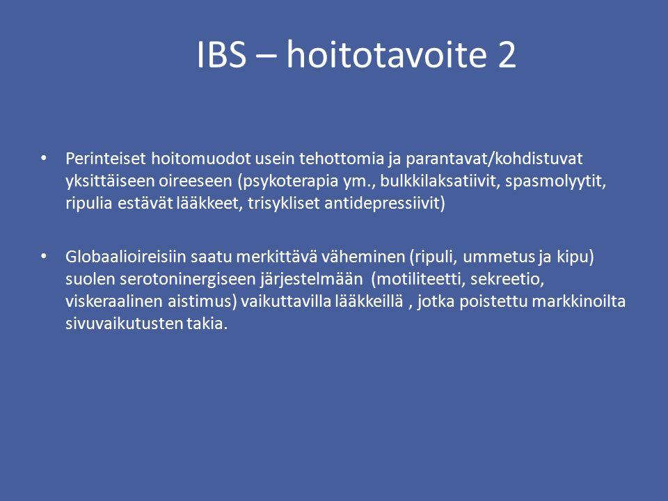 IBS – hoitotavoite 2 Perinteiset hoitomuodot usein tehottomia ja parantavat/kohdistuvat yksittäiseen oireeseen (psykoterapia ym., bulkkilaksatiivit, spasmolyytit, ripulia estävät lääkkeet, trisykliset antidepressiivit) Globaalioireisiin saatu merkittävä väheminen (ripuli, ummetus ja kipu) suolen serotoninergiseen järjestelmään (motiliteetti, sekreetio, viskeraalinen aistimus) vaikuttavilla lääkkeillä, jotka poistettu markkinoilta sivuvaikutusten takia.