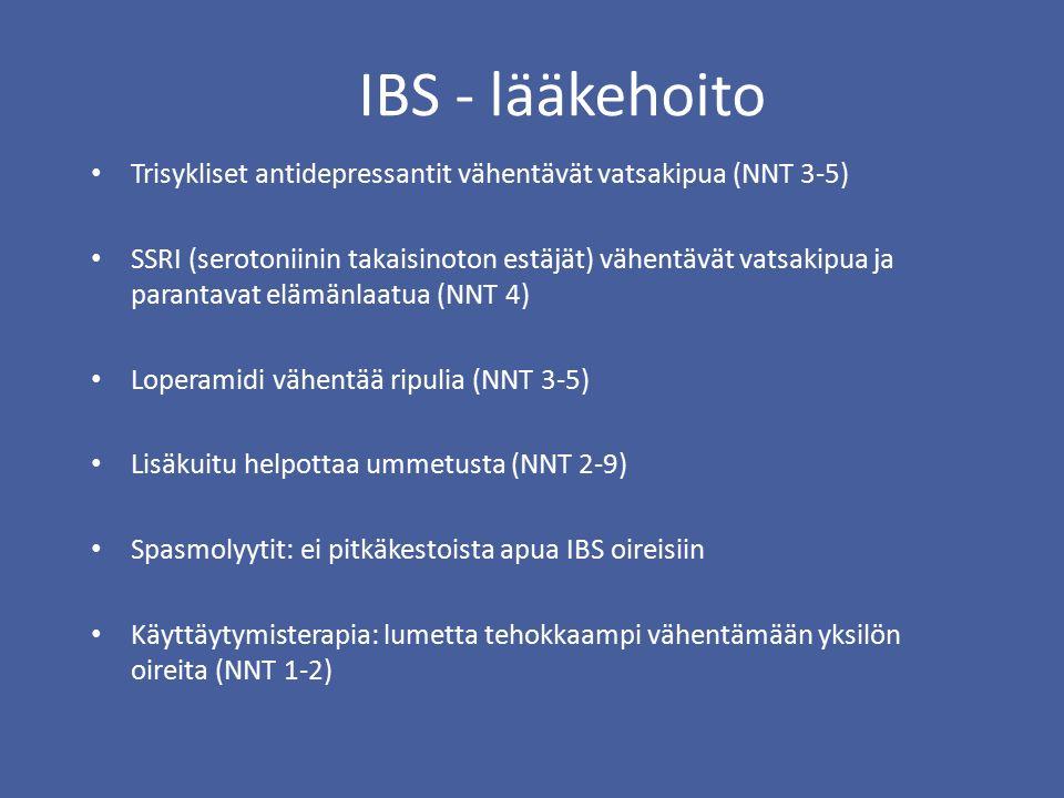 IBS - lääkehoito Trisykliset antidepressantit vähentävät vatsakipua (NNT 3-5) SSRI (serotoniinin takaisinoton estäjät) vähentävät vatsakipua ja parantavat elämänlaatua (NNT 4) Loperamidi vähentää ripulia (NNT 3-5) Lisäkuitu helpottaa ummetusta (NNT 2-9) Spasmolyytit: ei pitkäkestoista apua IBS oireisiin Käyttäytymisterapia: lumetta tehokkaampi vähentämään yksilön oireita (NNT 1-2)