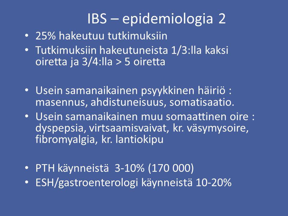 IBS – epidemiologia 2 25% hakeutuu tutkimuksiin Tutkimuksiin hakeutuneista 1/3:lla kaksi oiretta ja 3/4:lla > 5 oiretta Usein samanaikainen psyykkinen häiriö : masennus, ahdistuneisuus, somatisaatio.