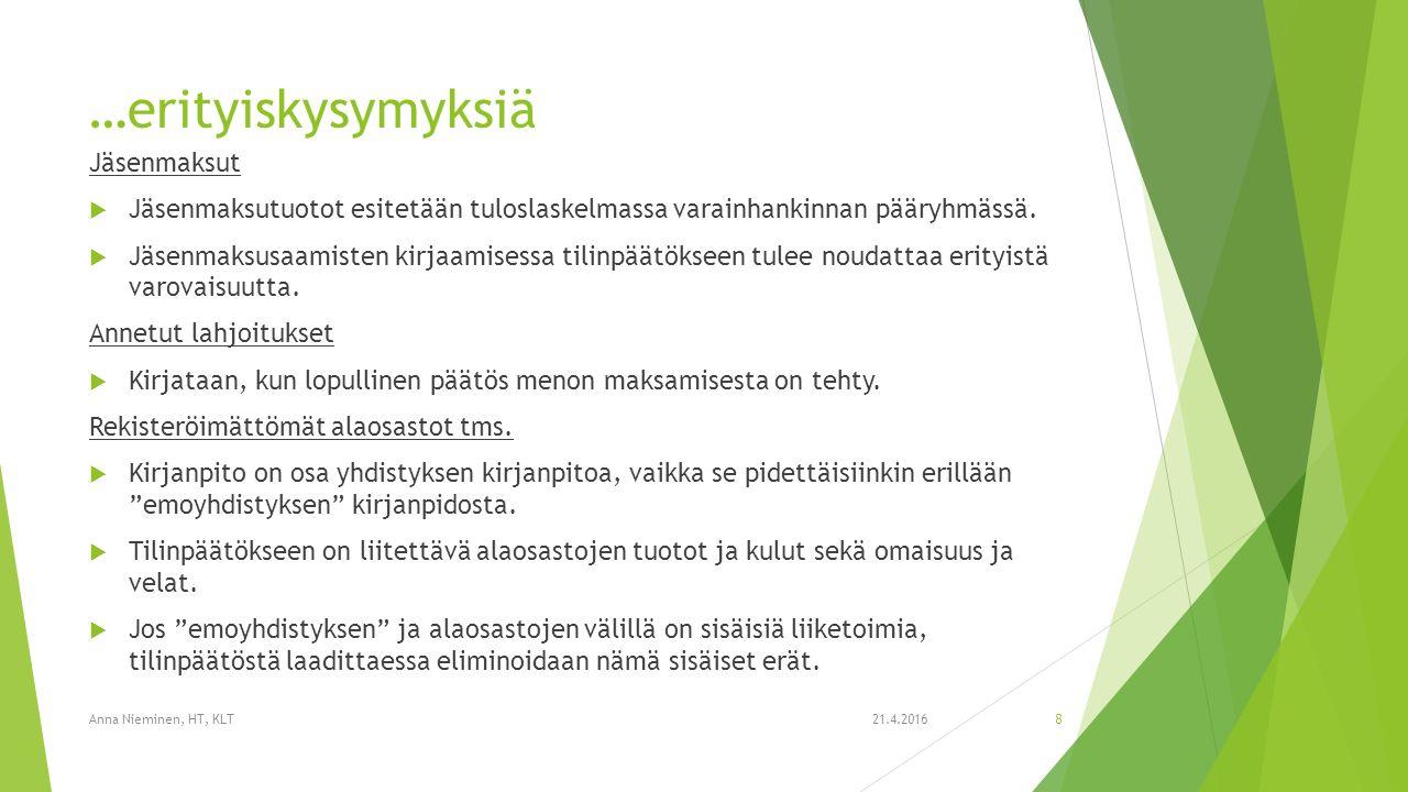 …erityiskysymyksiä Jäsenmaksut  Jäsenmaksutuotot esitetään tuloslaskelmassa varainhankinnan pääryhmässä.