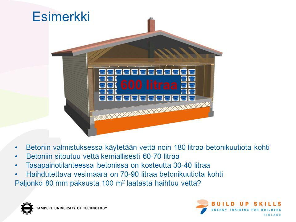 Betonin valmistuksessa käytetään vettä noin 180 litraa betonikuutiota kohti Betoniin sitoutuu vettä kemiallisesti 60-70 litraa Tasapainotilanteessa betonissa on kosteutta 30-40 litraa Haihdutettava vesimäärä on 70-90 litraa betonikuutiota kohti Paljonko 80 mm paksusta 100 m 2 laatasta haihtuu vettä.