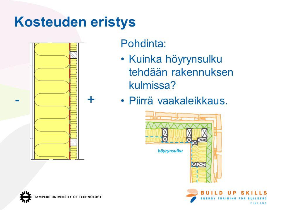 Kosteuden eristys Pohdinta: Kuinka höyrynsulku tehdään rakennuksen kulmissa.