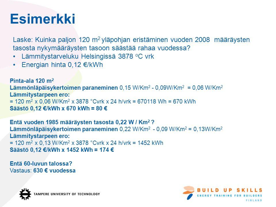 Esimerkki Pinta-ala 120 m 2 Lämmönläpäisykertoimen paraneminen 0,15 W/Km 2 - 0,09W/Km 2 = 0,06 W/Km 2 Lämmitystarpeen ero: = 120 m 2 x 0,06 W/Km 2 x 3878 °Cvrk x 24 h/vrk = 670118 Wh = 670 kWh Säästö 0,12 €/kWh x 670 kWh = 80 € Entä vuoden 1985 määräysten tasosta 0,22 W / Km 2 .