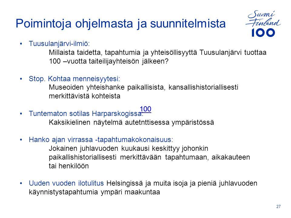 Poimintoja ohjelmasta ja suunnitelmista 27 Tuusulanjärvi-ilmiö: Millaista taidetta, tapahtumia ja yhteisöllisyyttä Tuusulanjärvi tuottaa 100 –vuotta taiteilijayhteisön jälkeen.