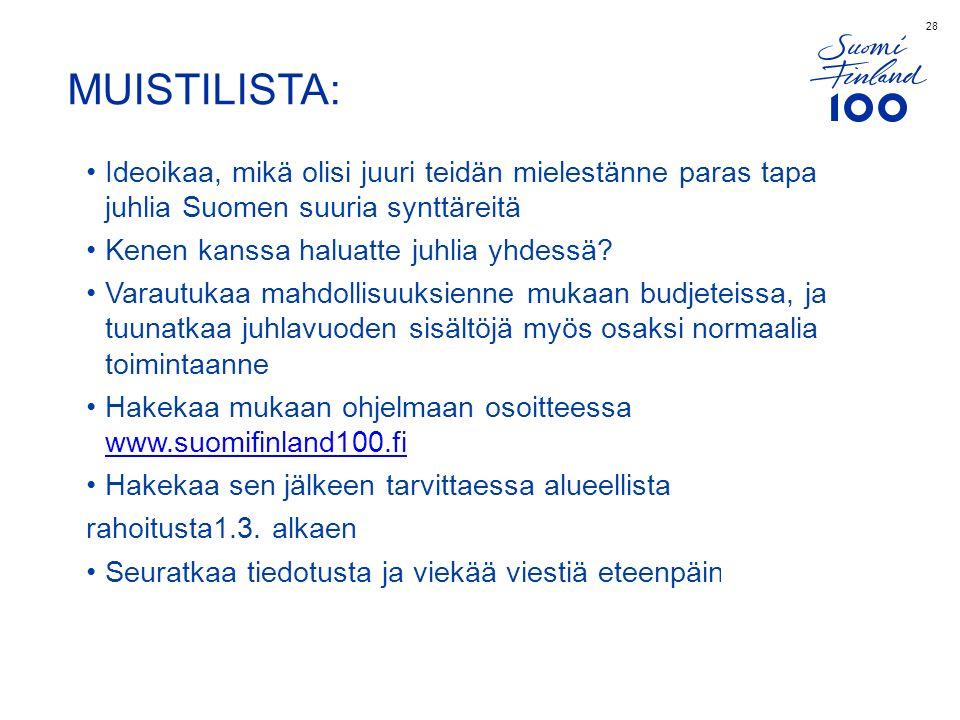 28 MUISTILISTA: Ideoikaa, mikä olisi juuri teidän mielestänne paras tapa juhlia Suomen suuria synttäreitä Kenen kanssa haluatte juhlia yhdessä.