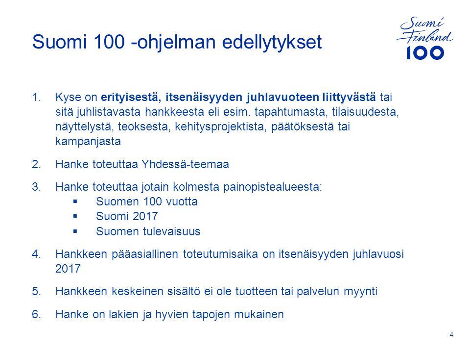 Suomi 100 -ohjelman edellytykset 1.Kyse on erityisestä, itsenäisyyden juhlavuoteen liittyvästä tai sitä juhlistavasta hankkeesta eli esim.