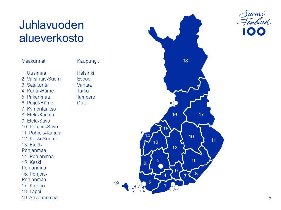 Juhlavuoden alueverkosto 7 Maakunnat 1. Uusimaa 2.
