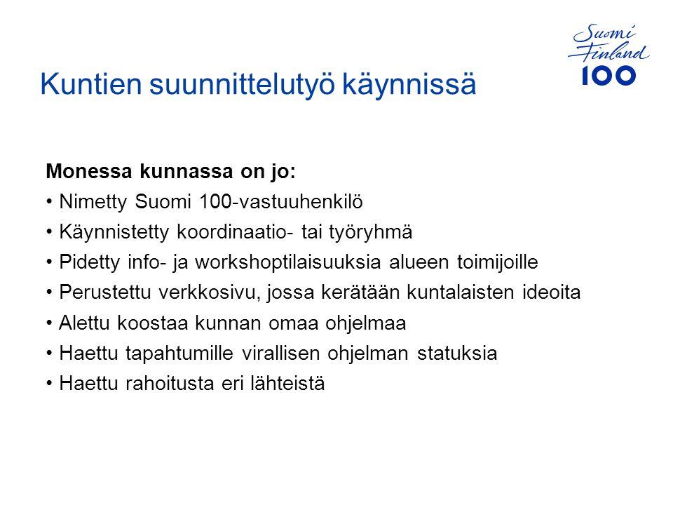 Monessa kunnassa on jo: Nimetty Suomi 100-vastuuhenkilö Käynnistetty koordinaatio- tai työryhmä Pidetty info- ja workshoptilaisuuksia alueen toimijoille Perustettu verkkosivu, jossa kerätään kuntalaisten ideoita Alettu koostaa kunnan omaa ohjelmaa Haettu tapahtumille virallisen ohjelman statuksia Haettu rahoitusta eri lähteistä Kuntien suunnittelutyö käynnissä