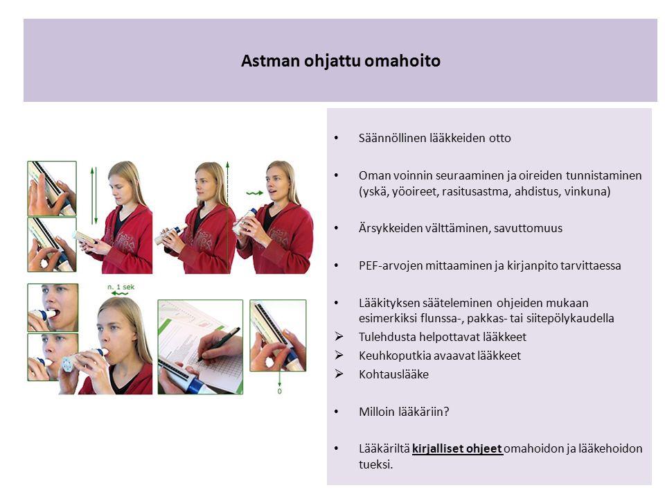 Astman ohjattu omahoito Säännöllinen lääkkeiden otto Oman voinnin seuraaminen ja oireiden tunnistaminen (yskä, yöoireet, rasitusastma, ahdistus, vinkuna) Ärsykkeiden välttäminen, savuttomuus PEF-arvojen mittaaminen ja kirjanpito tarvittaessa Lääkityksen sääteleminen ohjeiden mukaan esimerkiksi flunssa-, pakkas- tai siitepölykaudella  Tulehdusta helpottavat lääkkeet  Keuhkoputkia avaavat lääkkeet  Kohtauslääke Milloin lääkäriin.