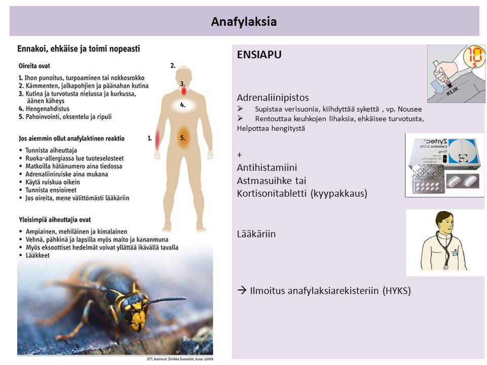 Anafylaksia ENSIAPU Adrenaliinipistos  Supistaa verisuonia, kiihdyttää sykettä, vp.