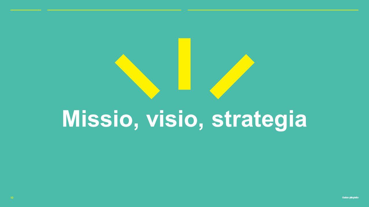 Oulun yliopisto Missio, visio, strategia 10