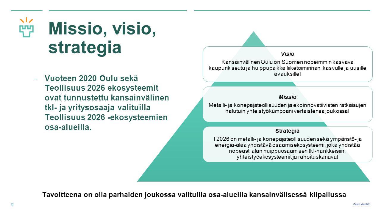 Oulun yliopisto Missio, visio, strategia ‒ Vuoteen 2020 Oulu sekä Teollisuus 2026 ekosysteemit ovat tunnustettu kansainvälinen tkI- ja yritysosaaja valituilla Teollisuus 2026 -ekosysteemien osa-alueilla.