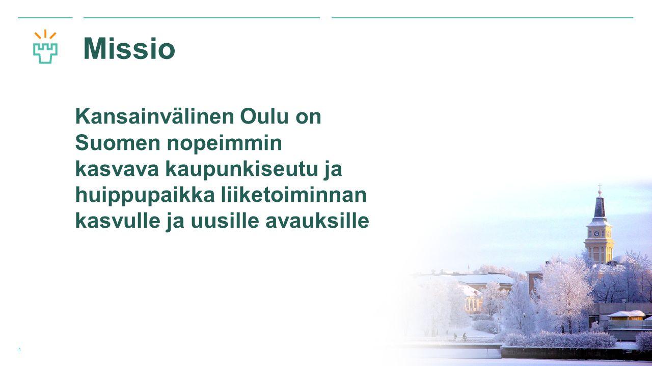 Oulun yliopisto Missio Kansainvälinen Oulu on Suomen nopeimmin kasvava kaupunkiseutu ja huippupaikka liiketoiminnan kasvulle ja uusille avauksille 4